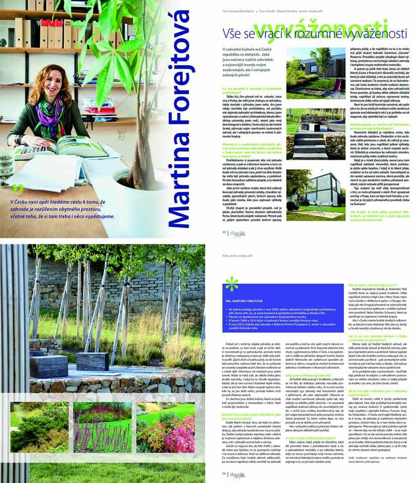 Deniky Bohemia 01/2013 Interview about gardens and public spaces